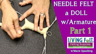 Needle Felting  Doll Tutorial Part 1- Armature   How To Needle Felt A Doll #dollfeltalong