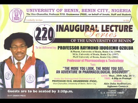 Watch Live: University of Benin 220th Inaugural Lecture Series
