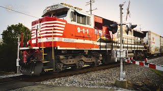NS 911 Honoring First Responders Unit on Local Freight Train
