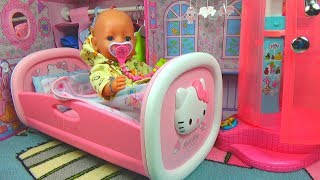 Беби Бон Обычное Утро! Baby Born Doll Evening Routine! Baby Annabell bedroom, bathroom in dollhouse