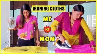 How I Iron Clothes Vs. How My Mom Irons Clothes 🤣 | Anisha Dixit | #Shorts