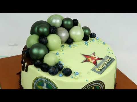 Вариант украшения торта на 23 февраля