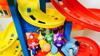 ROLLER COASTER Race Track Learning Colors with TELETUBBIES Toys!