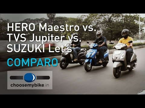 Hero Maestro Vs TVS Jupiter Vs Suzuki Let's – 110cc Scooter Shootout