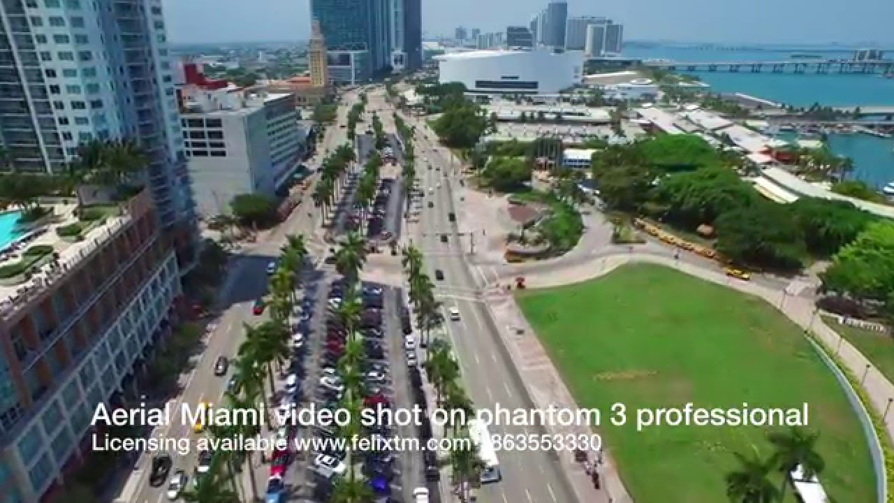 Aerial video of Downtown Miami FL