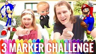3 MARKER CHALLENGE ! MAX VS MAGGIE ! MARIO SONIC BABY BOSS - DELIRES DE MAX