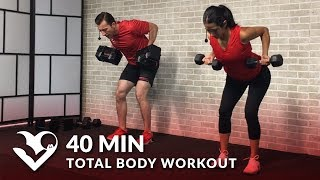 40 Min Total Body Workout With Weights   Dumbbell Training Strength Workout At Home For Women & Men