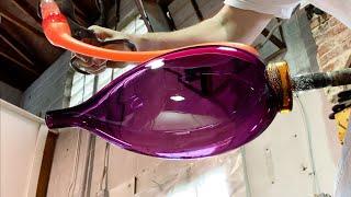 Vetro Vero Glassblowers Create A Luminous Purple Hand Blown Glass Vessel