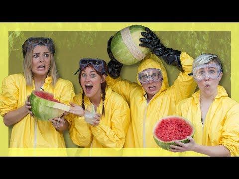 Exploding Watermelon Challenge (ft. Hannah Hart, Mamrie Hart & Grace Helbig) | Tyler Oakley