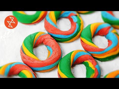 Making Rainbow Bagels