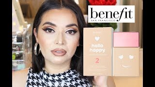 NEW BENEFIT HELLO HAPPY SOFT BLUR FOUNDATION REVIEW & DEMO + 9 HOUR WEAR TEST!