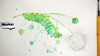 Painting Caterpillar: SIMPLE & EASY Watercolour Wet On Wet Technique