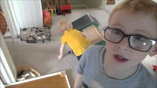 Jack and Harry build a toy farm on the landing