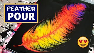 Acrylic Pouring Feather - Fluid Painting Art With METALLIC Acrylics And Negative Space