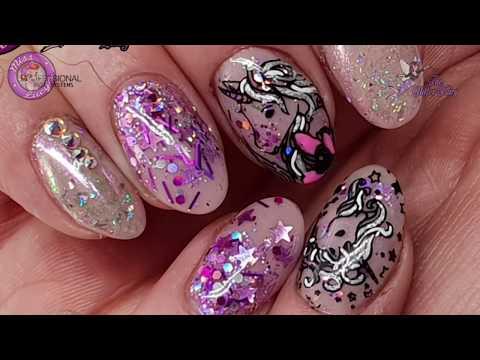 ?My Nails?Acrylic Overlay?Stamping?Unicorn Nails?