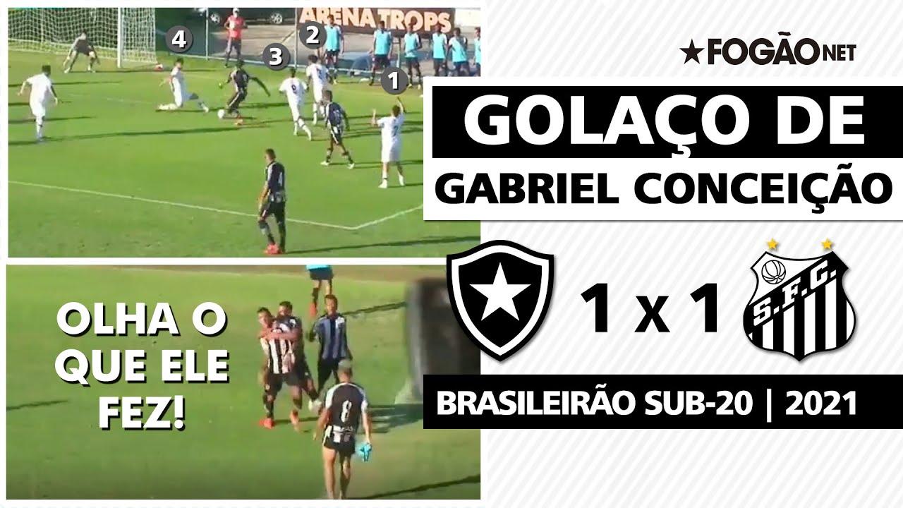 Olha o que ele fez! Gabriel Conceição dribla quatro e marca golaço pelo Botafogo no Brasileirão Sub-20