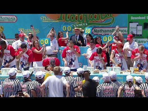 "Joey ""Jaws"" Chestnut ate 71 wieners and buns to secure his 12th title at the Nathan's Famous annual July Fourth hot dog eating contest Thursday in New York. Chestnut was just shy of breaking the record of 74 he set last year. (July 4)"