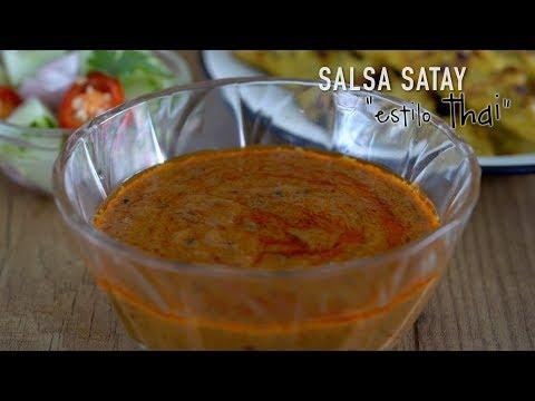 Salsa Satay estilo Thai o Salsa de cacahuetes para Pollo Satay - Homemade Thai Peanuts Sauce