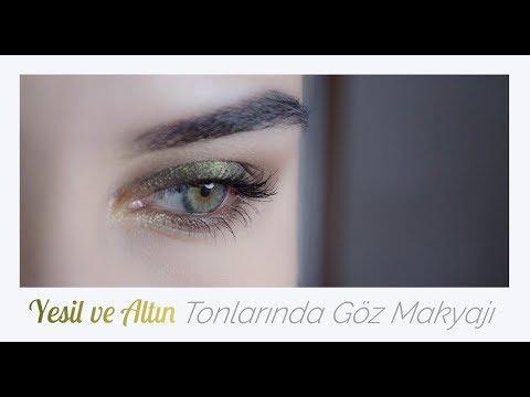 yeşil ve altın tonlarında göz makyajı ( kiko, makeuprevolution, max factor, essence, catrice)