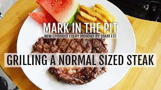 Grilling A Normal Sized Steak - Fries And Watermelon Side