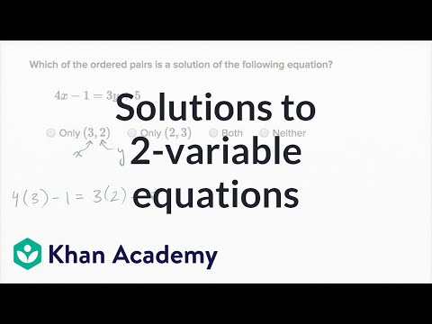 Worked example: solutions to 2-variable equations (video