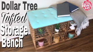 Dollar Tree DIY Tufted Storage Bench