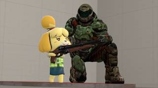 Isabelle  - (Animal Crossing) - DoomGuy Teaches Isabelle to use the Super Shotgun [Fanmade SFM]