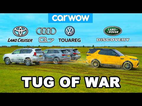 Toyota Land Cruiser, Audi Q7 & VW Touareg vs Land Rover: TUG OF WAR!