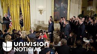 El Presidente Trump habló de una posible reelección en la ceremonia de juramentación de sus asesores
