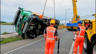 HEAVY RECOVERY : Truck loaded with fluid on its side (VOLVO FM) 🚛👷🏻