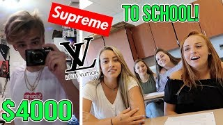 WEARING A CRAZY OUTFIT ON MY FIRST DAY OF SCHOOL!! (Supreme, Louis Vuitton, Gucci)