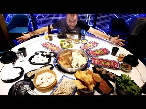 FRESH Chinese HOT POT FEAST at the Holy Cow - 10 Cuts and Sauces | Shanghai, China