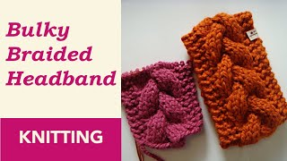 How To Knit: Bulky Braided Headband with Circular Needles (9 mm / US 13). Wool + Acrylic Yarn.