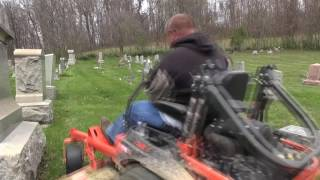 FLYING THROUGH HEADSTONES - lawn care - mowing business- vlog