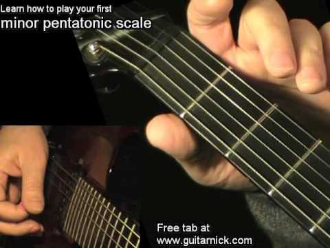 Pentatonic minor scale for beginners - electric guitar lesson, learn how to play