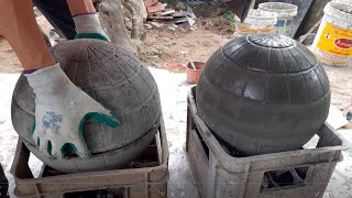 Cement Craft Ideas - Ideas Making Concrete Garden Sphere From Sand And Cement At Home !
