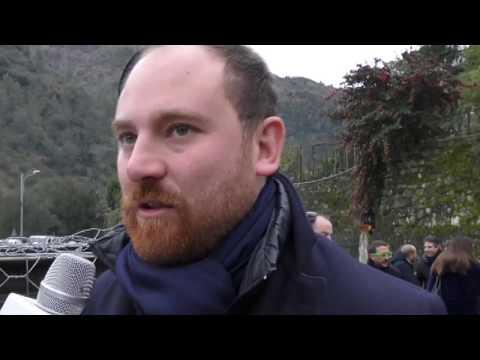 MARCO SCAJOLA, ALESSANDRO PIANA E FLAVIO DI MURO AL TAGLIO DEL NASTRO DEL PONTE DI ROCCHETTA