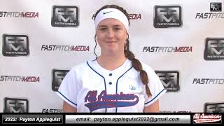 2022 Payton Applequist Athletic 3rd Base & SS, Blast Metrics Softball Skills Video AASA Pikas