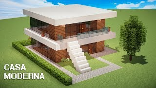 Casa moderna simples minecraft videos for Tutorial casa moderna grande minecraft