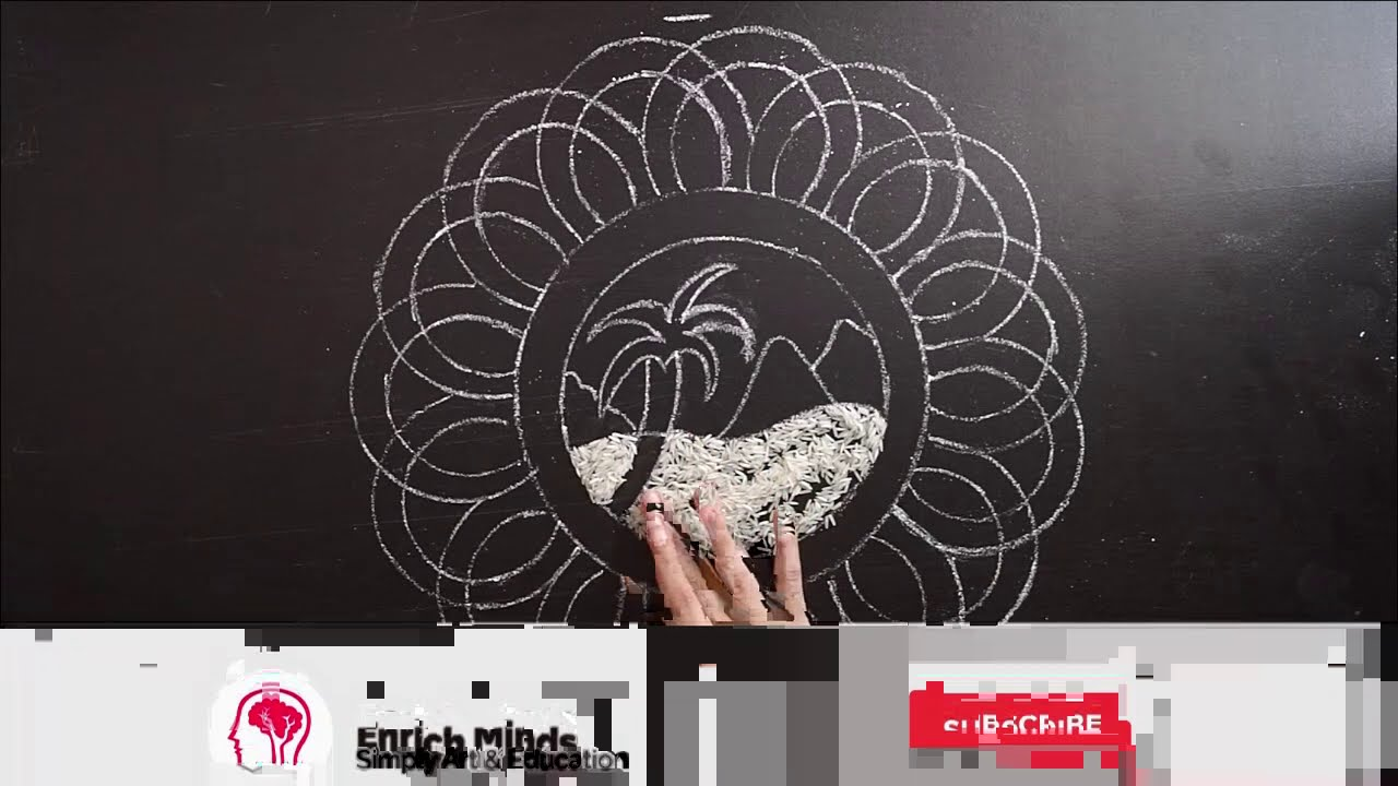 onam pookalam rangoli design step by step instruction