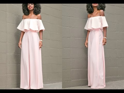 How To Make A Off Shoulder Blouse + High Waist Trousers ( Easy Sewing)