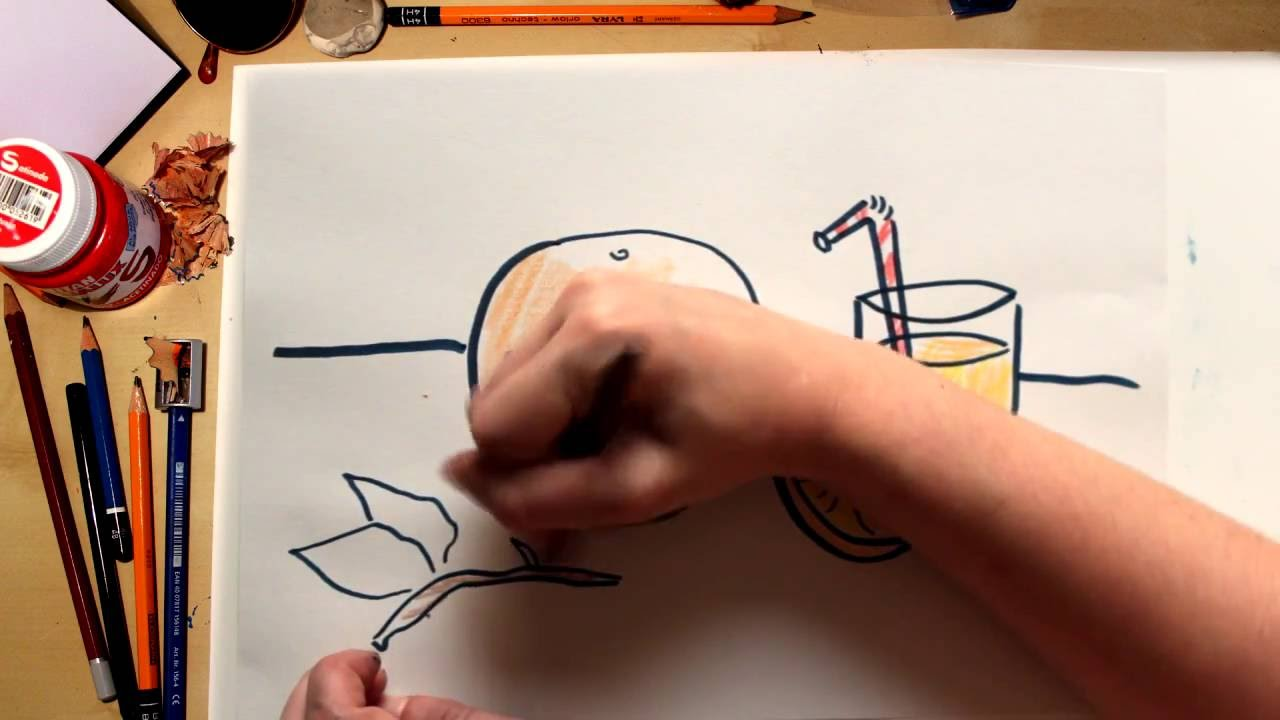 Como dibujar una Naranja  - dibujos de frutas para niños