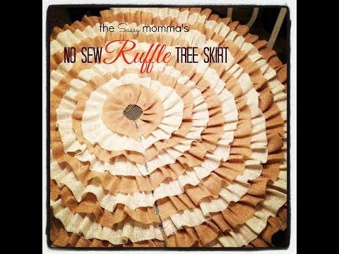 DIY No Sew Ruffle Christmas Tree Skirt- EASY!