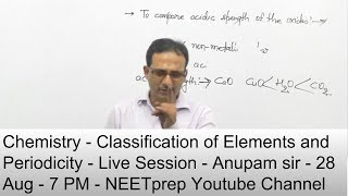 28 Aug - 7 PM - Chemistry - Classifiction of Elements & Periodicity - Live Session - Anupam Sir