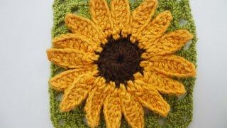 ПОДСОЛНУХ в квадрате SUNFLOWER squared Crochet
