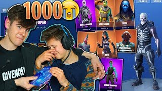 SURPRISING MY LITTLE BROTHER WITH 1000 FORTNITE SKINS... (EMOTIONAL)
