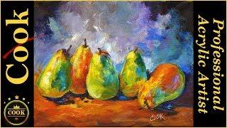 How to Paint Rainbow Pears With Acrylics Like an Oil Painting | Kholo.pk