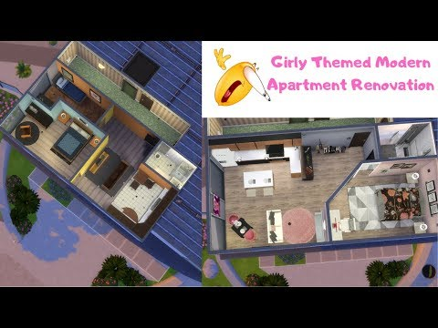 Modern Girly Apartment Renovation   W/ CC  Sims 4 Speed Build  Swavey TV