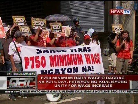 [GMA]  QRT: P750 minimum daily wage o dagdag na P213/day, petisyon ng koalisyong unity for wage increase