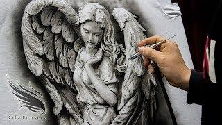 Airbrush Painting Angel On T Shirt / Rafa Fonseca